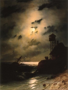 Sea Painting - Moonlit seascape boat With Shipwreck Ivan Aivazovsky