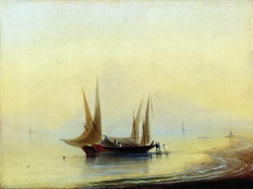 barge in the sea shore Romantic Ivan Aivazovsky Russian Oil Paintings