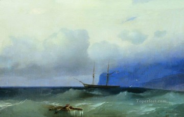 boat sailing Romantic Ivan Aivazovsky Russian Oil Paintings