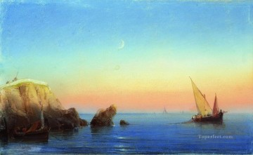 romantic romantism Painting - calm sea rocky coast 1860 Romantic Ivan Aivazovsky Russian
