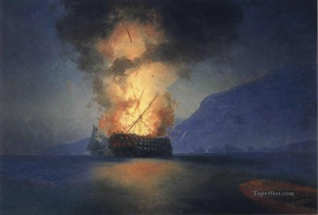 romantic romantism Painting - exploding ship 1900 Romantic Ivan Aivazovsky Russian
