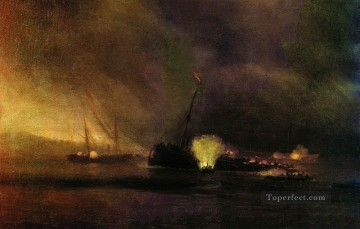 Ivan Konstantinovich Aivazovsky Painting - explosion of the three masted steamship in sulinIvan Aivazovsky