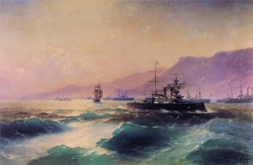 gunboat off crete 1897 Romantic Ivan Aivazovsky Russian Oil Paintings