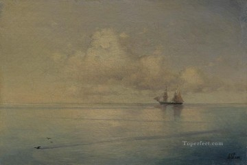 boat - landscape with a sailboat Romantic Ivan Aivazovsky Russian