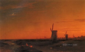 landscape with windmills Romantic Ivan Aivazovsky Russian Oil Paintings