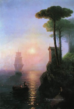 Italy Painting - misty morning in italy 1864 Romantic Ivan Aivazovsky Russian