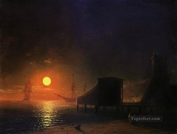 romantic romantism Painting - moonlight in feodosia 1852 Romantic Ivan Aivazovsky Russian
