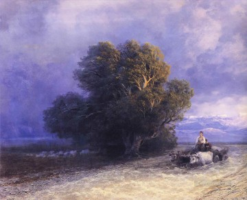 plain Art - ox cart crossing a flooded plain 1897 Romantic Ivan Aivazovsky Russian