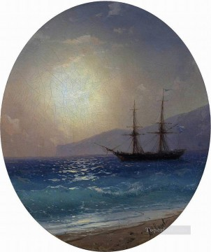 sailing boat under sunset Romantic Ivan Aivazovsky Russian Oil Paintings