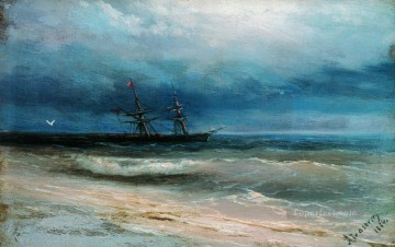 seascape mediterranean sea venice boat ship waterscape Painting - sea with a ship 1884 Romantic Ivan Aivazovsky Russian