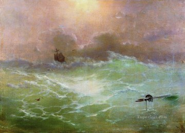 ship in a storm 1896 Romantic Ivan Aivazovsky Russian Oil Paintings
