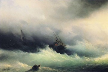 ships in a storm 1860 Romantic Ivan Aivazovsky Russian Oil Paintings