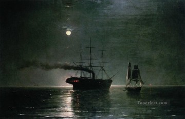 ships in the stillness of the night 1888 Romantic Ivan Aivazovsky Russian Oil Paintings