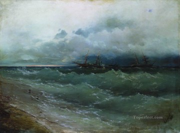 romantic romantism Painting - ships in the stormy sea sunrise 1871 Romantic Ivan Aivazovsky Russian