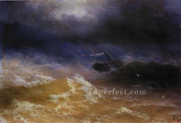 st Oil Painting - storm on sea 1899 seascape Ivan Aivazovsky