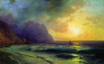 sunset at sea 1853 Romantic Ivan Aivazovsky Russian Oil Paintings