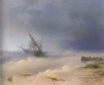 tempest 1872 Romantic Ivan Aivazovsky Russian Oil Paintings