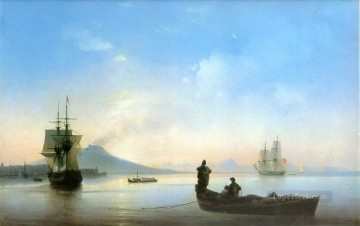 the bay of naples in the morning 1843 Romantic Ivan Aivazovsky Russian Oil Paintings