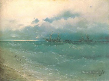 the ships on rough sea sunrise 1871 Romantic Ivan Aivazovsky Russian Oil Paintings