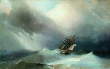the tempest 1851 Romantic Ivan Aivazovsky Russian Oil Paintings