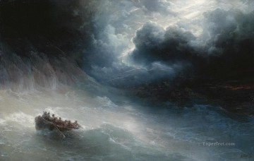 the wrath of the seas 1886 Romantic Ivan Aivazovsky Russian Oil Paintings