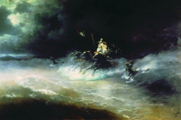 travel of poseidon by sea 1894 Romantic Ivan Aivazovsky Russian Oil Paintings