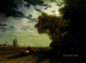ukrainian landscape with chumaks in the moonlight Ivan Aivazovsky Oil Paintings