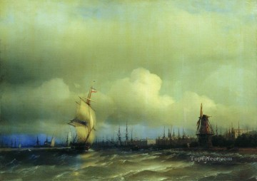 view of amsterdam 1854 Romantic Ivan Aivazovsky Russian Oil Paintings