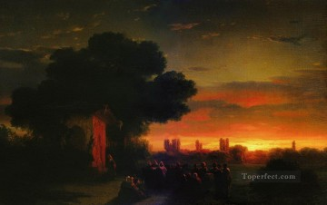view of crimea at sunset 1862 Romantic Ivan Aivazovsky Russian Oil Paintings