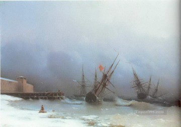 warning of storm 1851 Romantic Ivan Aivazovsky Russian Oil Paintings