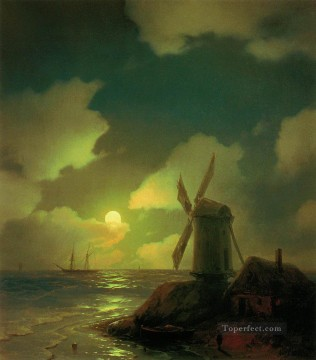 windmill on the sea coast 1851 Romantic Ivan Aivazovsky Russian Oil Paintings