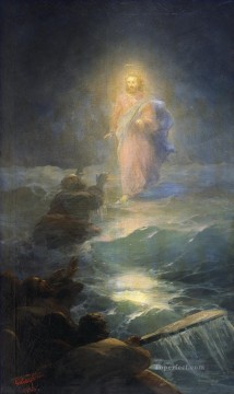 jesus christ Painting - Jesus Christ on Sea Po vodam 1888 Romantic Ivan Aivazovsky Russian