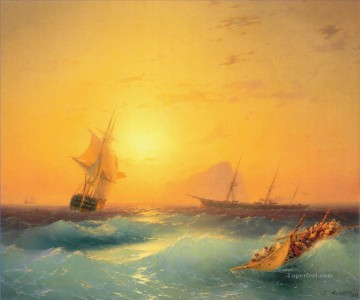 Aivazovsky Painting - american shipping off the rock of gibraltar Ivan Aivazovsky