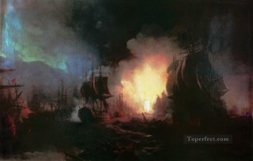 battle of chesma 1886 Romantic Ivan Aivazovsky Russian Oil Paintings
