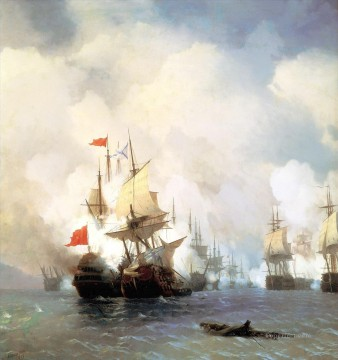 battle of chios on 24 june 1770 1848 Romantic Ivan Aivazovsky Russian Oil Paintings