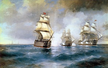 Ivan Konstantinovich Aivazovsky Painting - brig mercury attacked by two turkish ships Ivan Aivazovsky