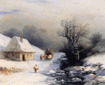 Ivan Konstantinovich Aivazovsky Painting - little russian ox cart in winter 1866 Romantic Ivan Aivazovsky Russian