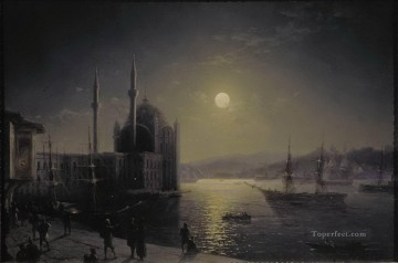 moonlit night on the bosphorus 1894 Romantic Ivan Aivazovsky Russian Oil Paintings