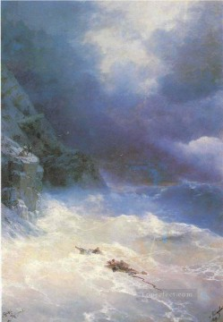 on the storm 1899 Romantic Ivan Aivazovsky Russian Oil Paintings