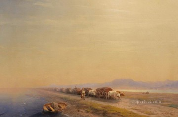 ox train on the sea shore 1860 Romantic Ivan Aivazovsky Russian Oil Paintings