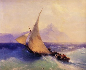 rescue at sea 1872 Romantic Ivan Aivazovsky Russian Oil Paintings