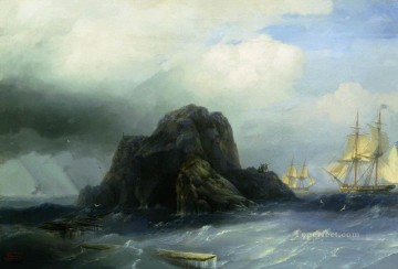 rocky island 1855 1 Romantic Ivan Aivazovsky Russian Oil Paintings