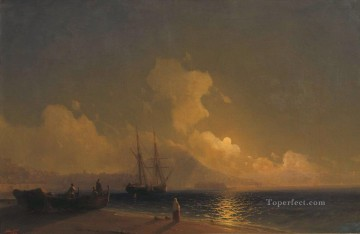 sea at night 1 Romantic Ivan Aivazovsky Russian Oil Paintings