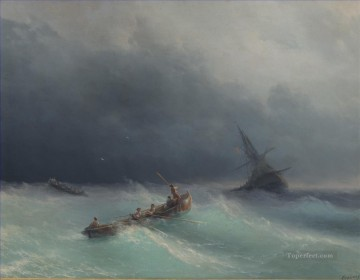 storm at sea 1873 Romantic Ivan Aivazovsky Russian Oil Paintings