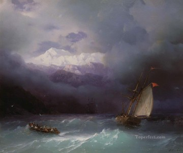 stormy sea 1868 Romantic Ivan Aivazovsky Russian Oil Paintings
