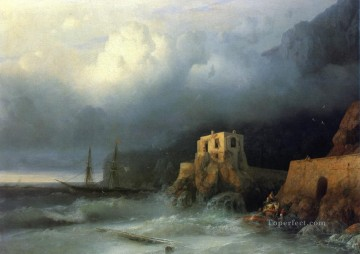 the rescue 1857 Romantic Ivan Aivazovsky Russian Oil Paintings