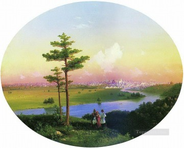 row - view of moscow from sparrow hills 1848 Romantic Ivan Aivazovsky Russian