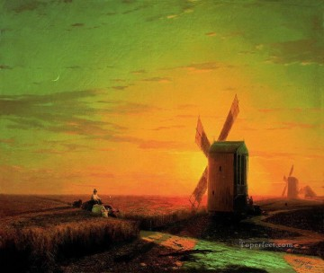 Windmills Art - windmills in the ukrainian steppe at sunset Ivan Aivazovsky