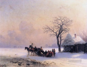 winter scene in little russia 1868 Romantic Ivan Aivazovsky Russian Oil Paintings