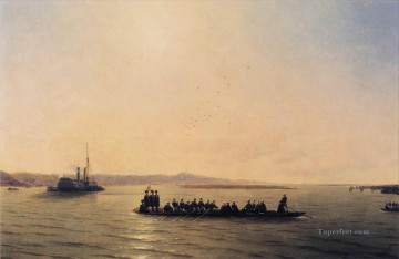 cross - alexander ii crossing the danube 1878 Romantic Ivan Aivazovsky Russian